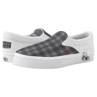 Scottish tartan plaid dark grey printed shoes