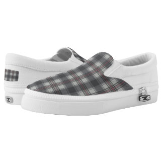 Scottish tartan plaid grey Slip-On shoes