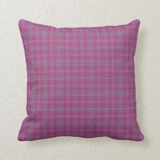 Scottish Tartan Plaid, pink checks cyan details Throw Pillow