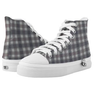 Scottish Tartan plaids grey Printed Shoes