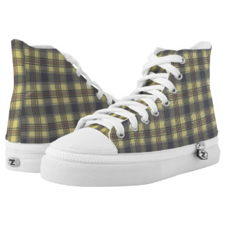 Scottish Tartan plaids yellow Printed Shoes