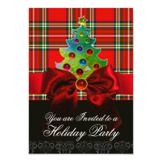 SCOTTISH TARTAN ,RED BOW AND CHRISTMAS TREE CARD