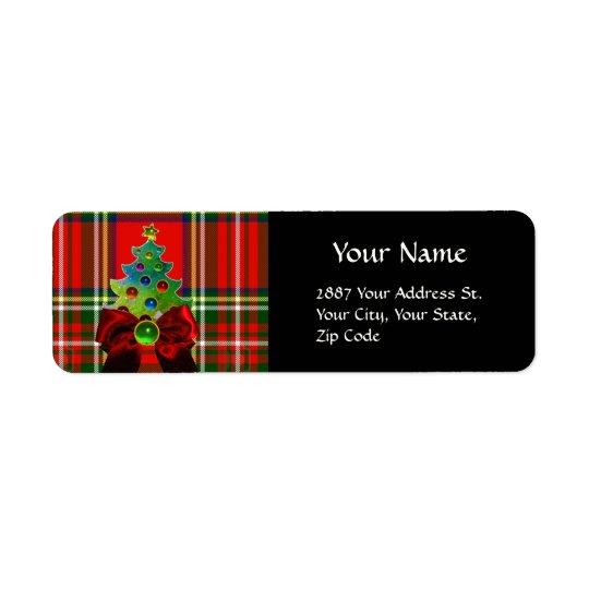 SCOTTISH TARTAN ,RED GREEN BOWS AND CHRISTMAS TREE