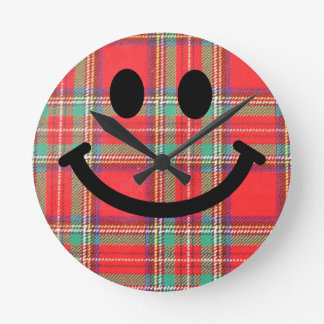 Scottish Tartan Smiley Clock