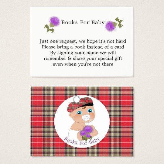 Scottish Tartan |Thistle Baby Shower Books Request Business
