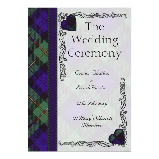 Scottish Tartan Wedding program - Macewen Invite