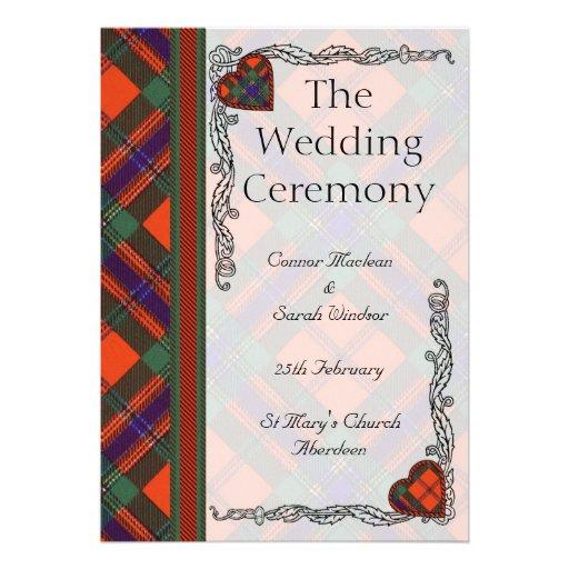 Scottish Tartan Wedding program - Maclean of Duart Announcements
