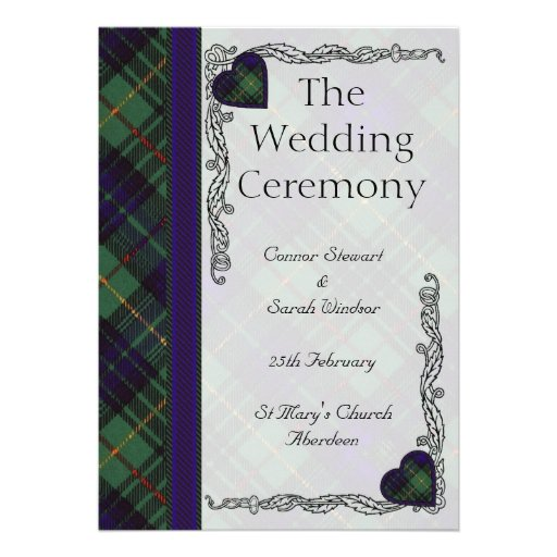 Scottish Tartan Wedding program - Stewart Hunting Custom Invitations