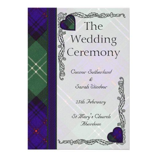 Scottish Tartan Wedding program - Sutherland Invitations