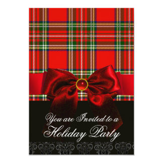 SCOTTISH TARTAN WITH RED RUBY BOW CHRISTMAS PARTY CARD