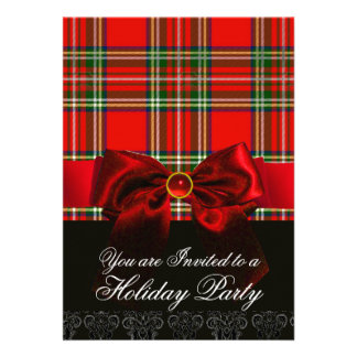 SCOTTISH TARTAN WITH RED RUBY BOW CHRISTMAS PARTY CUSTOM INVITES