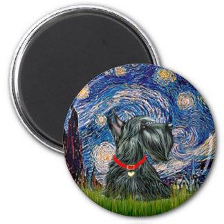 Scottish Terrier 12c -Starry Night 6 Cm Round Magnet