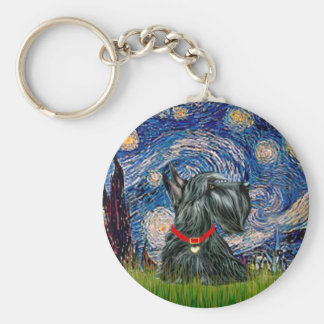 Scottish Terrier 12c -Starry Night Basic Round Button Key Ring