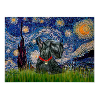 Scottish Terrier 12c -Starry Night Poster