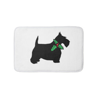 Scottish Terrier and Holly Custom Customizable Bath Mat