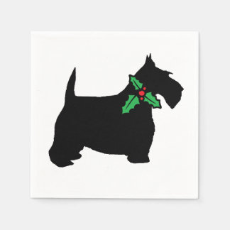 Scottish Terrier and Holly Disposable Napkin