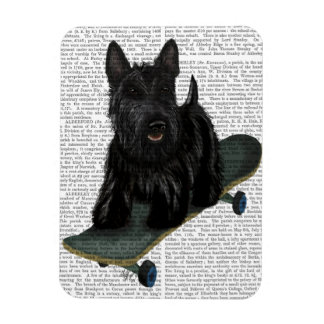 Scottish Terrier and Skateboard Rectangular Photo Magnet