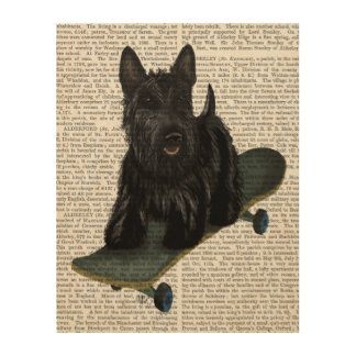 Scottish Terrier and Skateboard Wood Print
