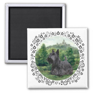 Scottish Terrier at Fairy Tale Castle Magnets