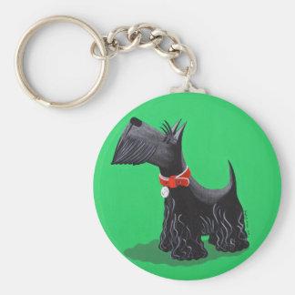 Scottish Terrier Basic Round Button Key Ring