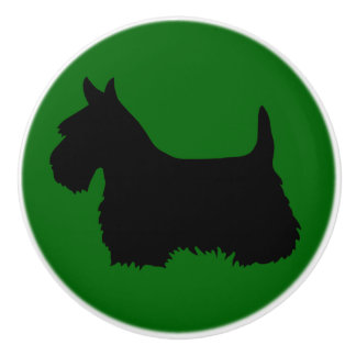Scottish Terrier black Island green Ceramic Knob