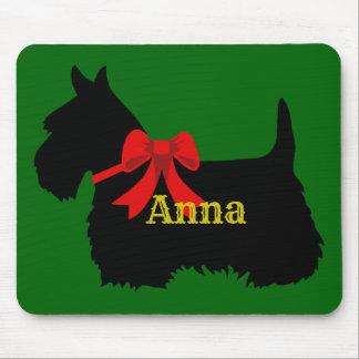Scottish Terrier black silhouette, Island green Mouse Mat
