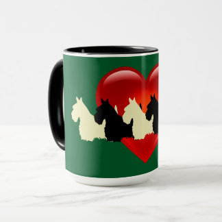 Scottish Terrier black silhouette, Kelly green Mug