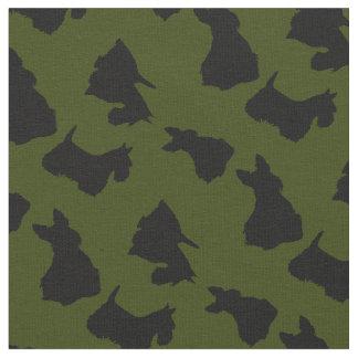 Scottish Terrier black silhouette, Odee green Fabric