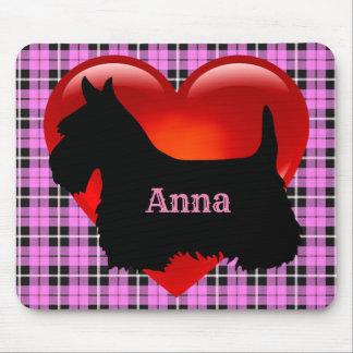 Scottish Terrier black silhouette, pink plaid Mouse Mat