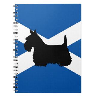 Scottish Terrier black silhouette, St. Andrew flag Spiral Notebook