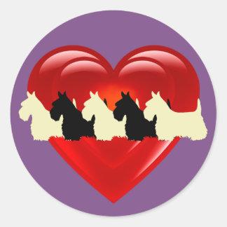 Scottish Terrier black/white double heart Classic Round Sticker