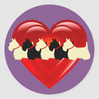 Scottish Terrier black/white double heart/collar Classic Round Sticker