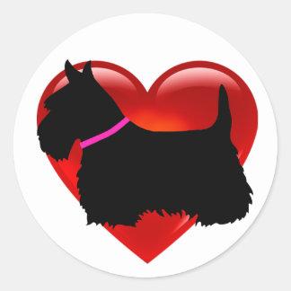 Scottish Terrier black/white heart, pink collar Classic Round Sticker