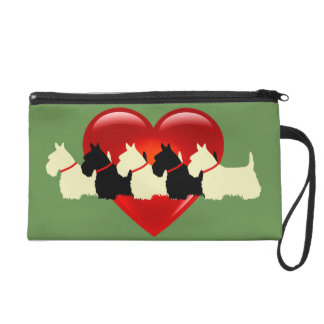 Scottish Terrier black/white red heart/zazle green Wristlet