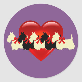 Scottish Terrier black/white silhouette heart /bow Classic Round Sticker