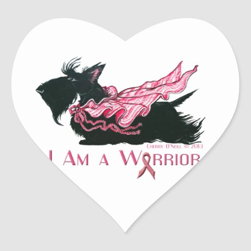 Scottish Terrier Breast Cancer Warrior Heart Stickers