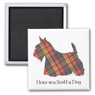 Scottish Terrier Buchanan Tartan Square Magnet