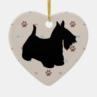 Scottish Terrier Ceramic Heart Decoration