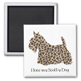 Scottish Terrier Cheetah Print Square Magnet