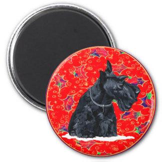 Scottish Terrier Christmas 6 Cm Round Magnet