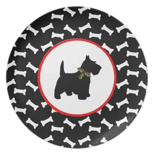 Scottish Terrier Christmas Dog Bones Plate