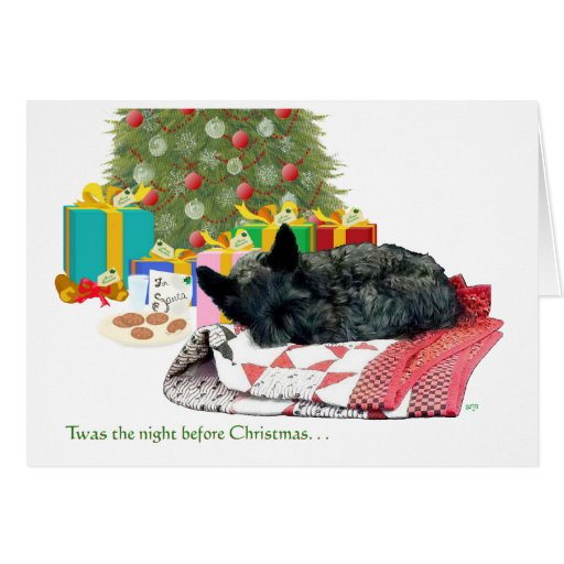 Scottish Terrier Christmas Nap Greeting Cards