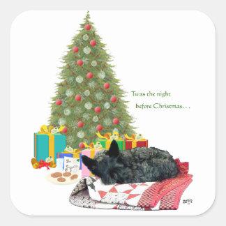 Scottish Terrier Christmas Nap Square Sticker