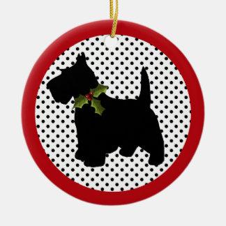 Scottish Terrier Christmas Scottie Dog Round Ceramic Decoration