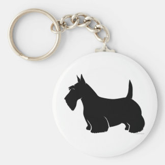 Scottish Terrier Classic Silhouette Basic Round Button Key Ring