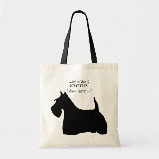 Scottish Terrier dog black silhouette fun tote bag