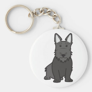 Scottish Terrier Dog Cartoon Basic Round Button Key Ring