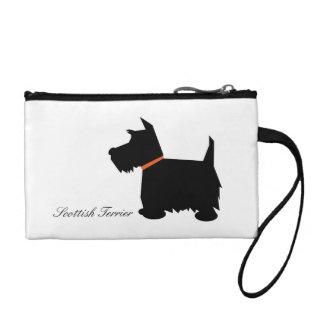 Scottish Terrier dog cute black silhouette, custom Coin Wallet