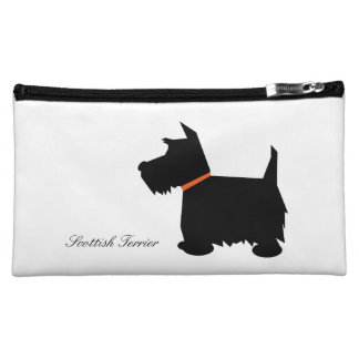 Scottish Terrier dog cute black silhouette, custom Makeup Bag