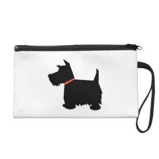 Scottish Terrier dog cute black silhouette, gift Wristlet